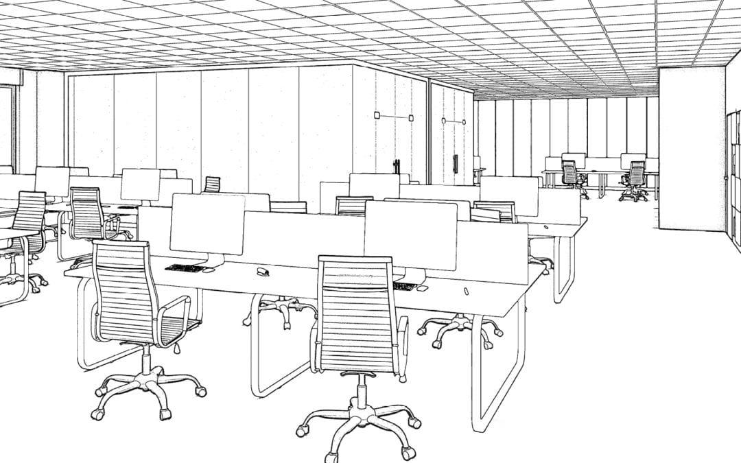 Interieur schets design kantoor