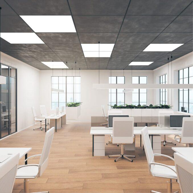 Een 3D render van een kantoorontwerp