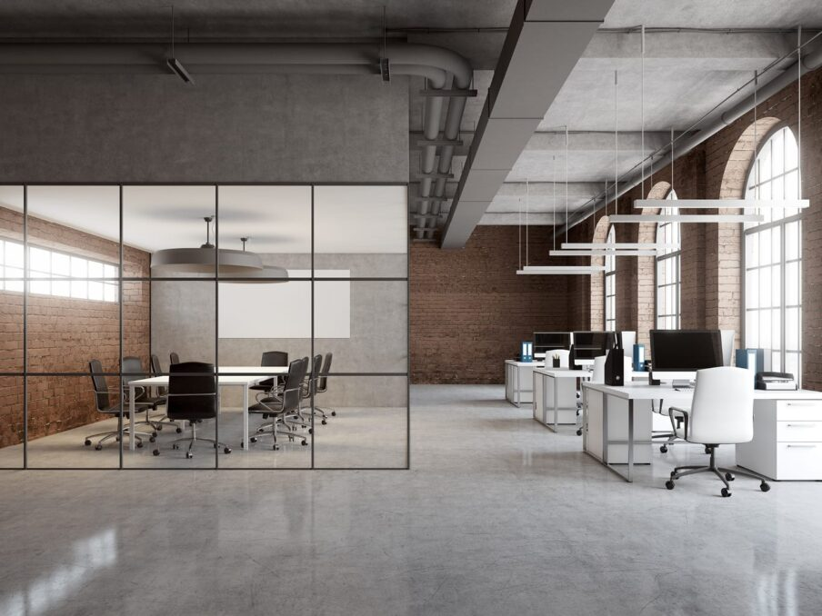 transparante wand op kantoor